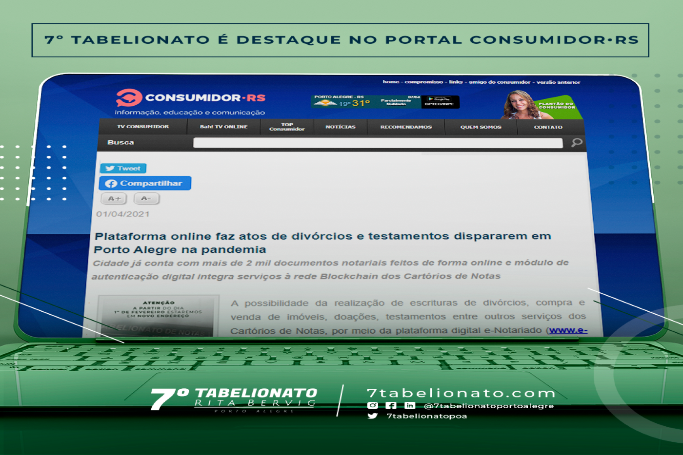 7º Tabelionato é Destaque No Portal Consumidor•RS