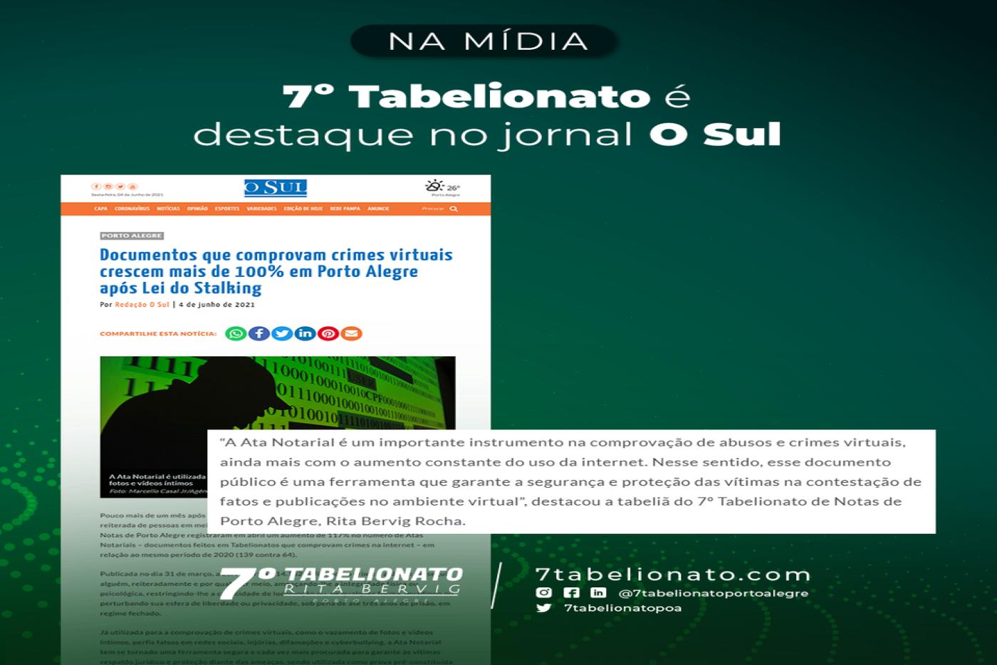 7º Tabelionato é Destaque No Jornal O Sul